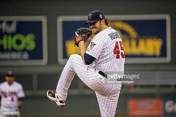 Phil Hughes of the Minnesota Twins pitches against the Chicago White Sox on July 24 2014 at Target Field in Minneapolis Minnesota The White Sox...