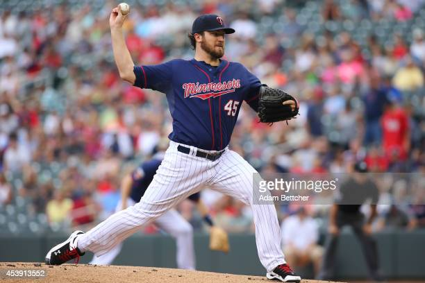 Phil Hughes of the Minnesota Twins pitches against the Cleveland Indians at Target Field on August 21 2014 in Minneapolis Minnesota