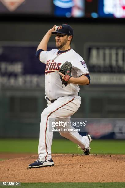 Phil Hughes of the Minnesota Twins pitches against the Cleveland Indians on April 18 2017 at Target Field in Minneapolis Minnesota The Indians...