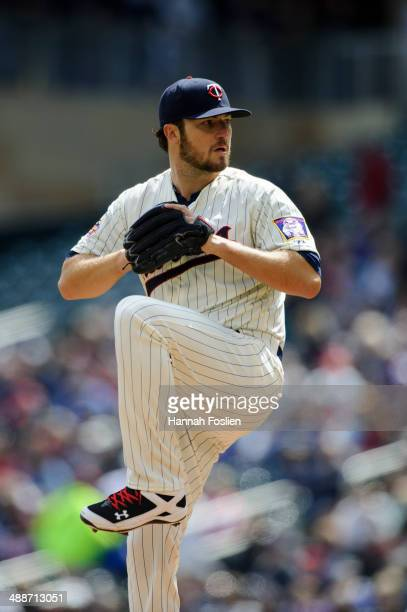 Phil Hughes of the Minnesota Twins pitches against the Detroit Tigers during the game on April 26 2014 at Target Field in Minneapolis Minnesota The...