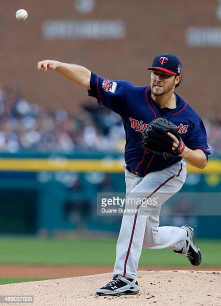 Phil Hughes of the Minnesota Twins pitches against the Detroit Tigers at Comerica Park on May 9 2014 in Detroit Michigan