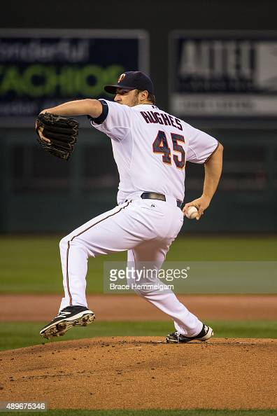 Phil Hughes of the Minnesota Twins pitches against the Detroit Tigers on September 15 2015 at Target Field in Minneapolis Minnesota The Tigers...