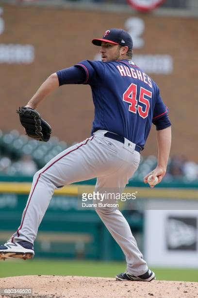 Phil Hughes of the Minnesota Twins pitches against the Detroit Tigers at Comerica Park on April 13 2017 in Detroit Michigan