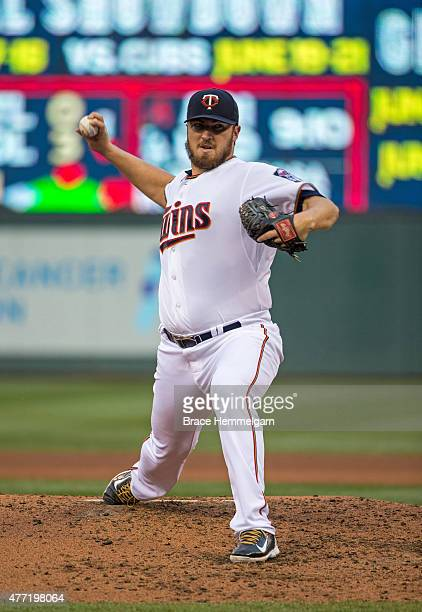 Phil Hughes of the Minnesota Twins pitches against the Kansas City Royals on June 8 2015 at Target Field in Minneapolis Minnesota The Royals defeated...