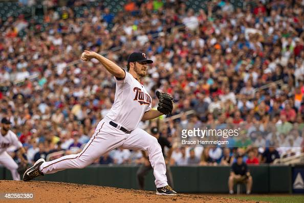 Phil Hughes of the Minnesota Twins pitches against the New York Yankees on July 24 2015 at Target Field in Minneapolis Minnesota The Twins defeated...