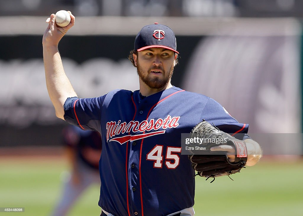 Phil Hughes of the Minnesota Twins pitches against the Oakland Athletics at Oco Coliseum on August 10 2014 in Oakland California