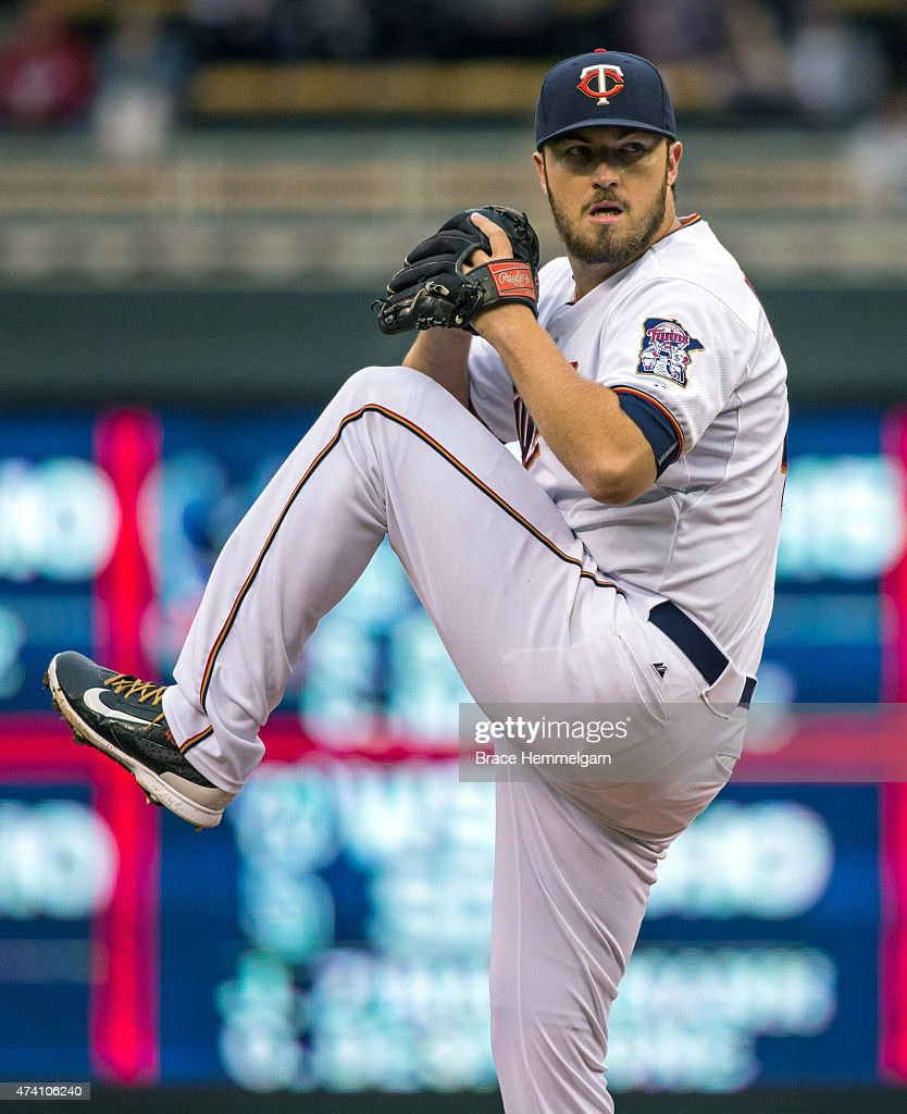 Phil Hughes of the Minnesota Twins pitches against the Tampa Bay Rays on May 15 2015 at Target Field in Minneapolis Minnesota The Twins defeated the...
