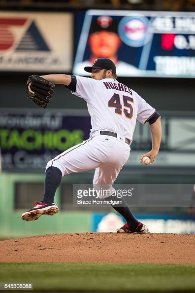 Phil Hughes of the Minnesota Twins pitches against the Tampa Bay Rays on June 2 2016 at Target Field in Minneapolis Minnesota The Twins defeated the...