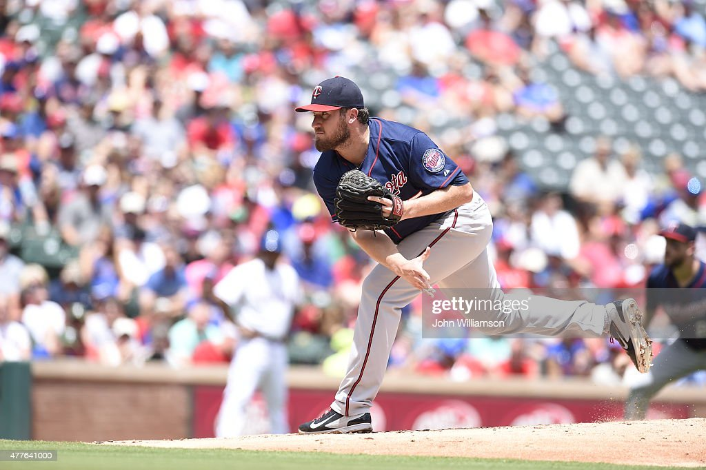 Phil Hughes of the Minnesota Twins pitches against the Texas Rangers at Globe Life Park on June 14 2015 in Arlington Texas The Minnesota Twins...