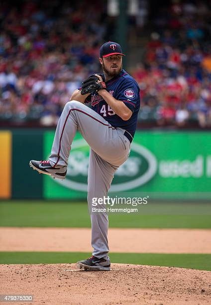 Phil Hughes of the Minnesota Twins pitches against the Texas Rangers on June 14 2015 at Globe Life Park in Arlington Texas The Twins defeated the...