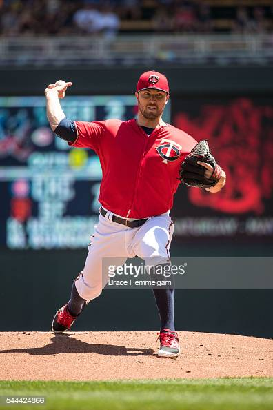 Phil Hughes of the Minnesota Twins pitches against the Toronto Blue Jays on May 22 2016 at Target Field in Minneapolis Minnesota The Blue Jays...