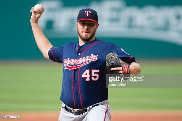Phil Hughes of the Minnesota Twins pitches during the first inning against the Cleveland Indians at Progressive Field on May 9 2015 in Cleveland Ohio