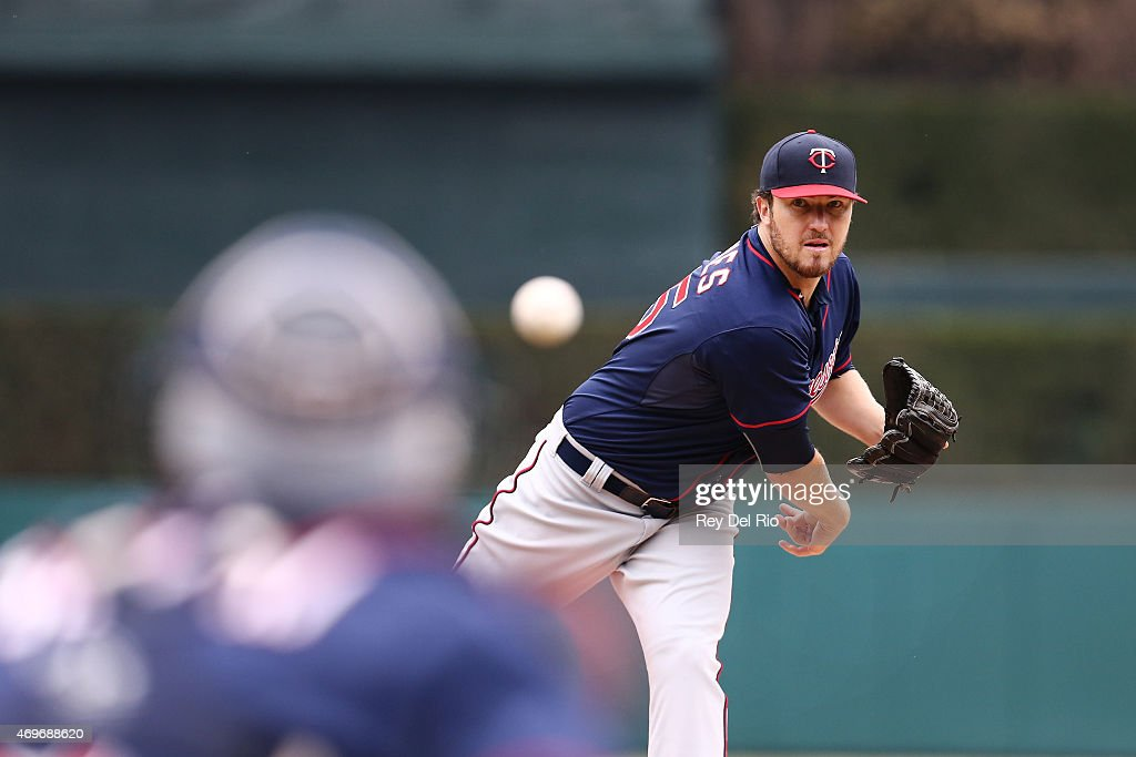 Phil Hughes of the Minnesota Twins pitches during the game against the Detroit Tigers at at Comerica Park on Monday April 6 2015 in Detroit