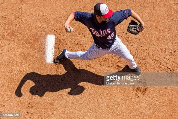 Phil Hughes of the Minnesota Twins pitches in the bullpen prior to the game against the Boston Red Sox during a spring training game on March 1 2014...