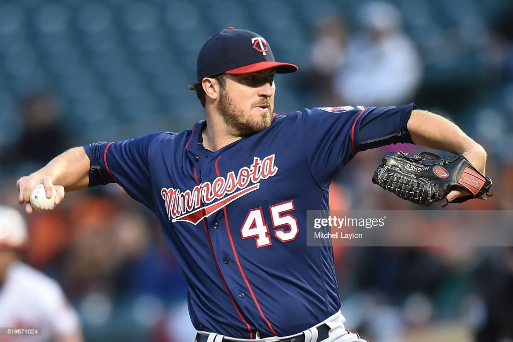 Phil Hughes of the Minnesota Twins pitches in the first inning during a baseball game against the Baltimore Orioles at Orioles Park at Camden Yards...