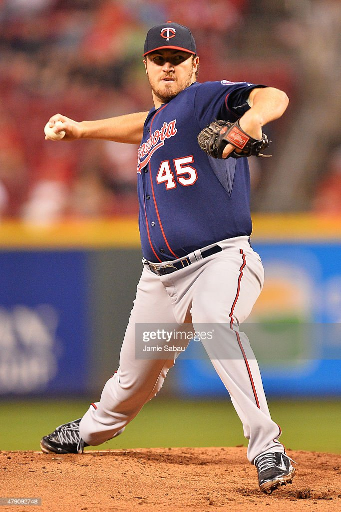 Phil Hughes of the Minnesota Twins pitches in the first inning against the Cincinnati Reds at Great American Ball Park on June 30 2015 in Cincinnati...