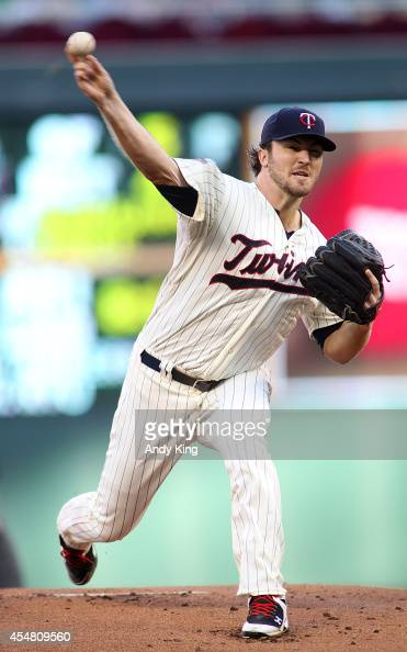 Phil Hughes of the Minnesota Twins pitches in the first inning to the Los Angeles Angels during their MLB baseball game Sept 6 Minneapolis Minnesota