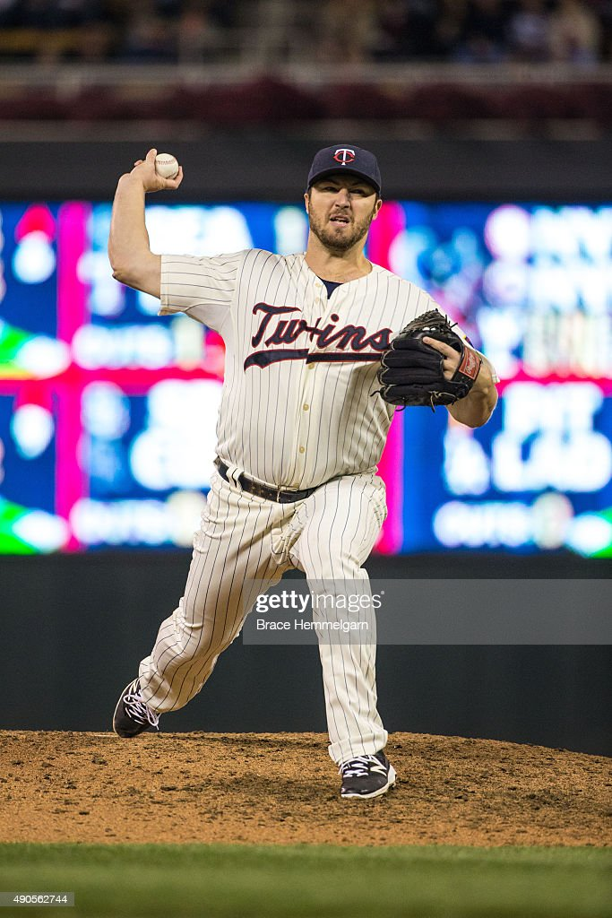 Phil Hughes of the Minnesota Twins pitches in the second game of a doubleheader against the Los Angeles Angels on September 19 2015 at Target Field...