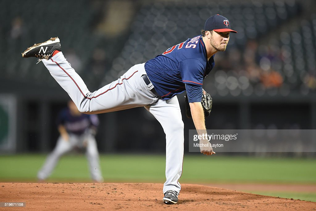 Phil Hughes of the Minnesota Twins pitches in the third inning during a baseball game against the Baltimore Orioles at Orioles Park at Camden Yards...