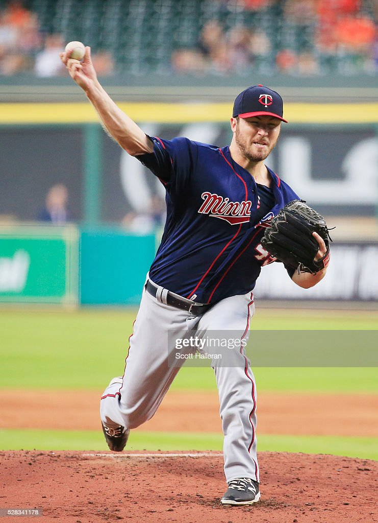 Phil Hughes of the Minnesota Twins throws a pitch in the second inning of their game against the Houston Astros at Minute Maid Park on May 4 2016 in...