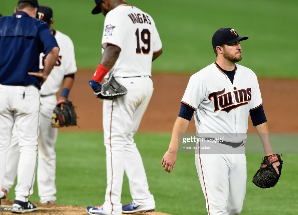 Phil Hughes #45 of the Minnesota Twins walks back to the dugout after being relieved from the game against the Colorado Rockies during the sixth inning on May 16, 2017 at Target Field in Minneapolis, Minnesota. The Rockies defeated the Twins 7-3.