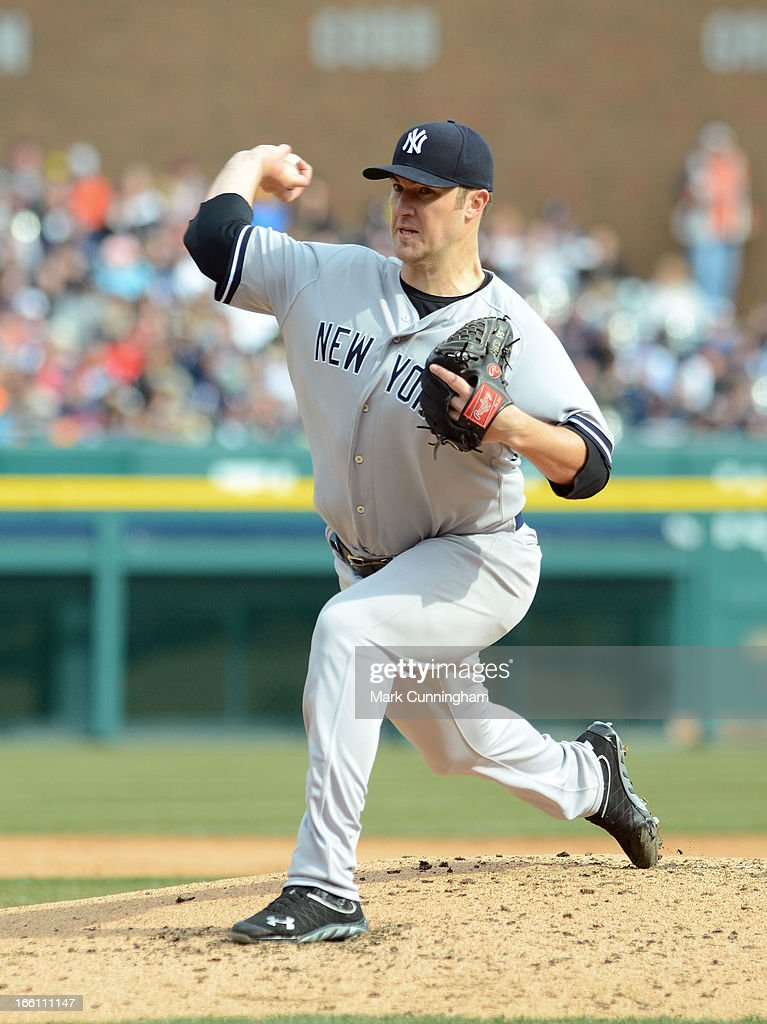 Phil Hughes #65 of the New York Yankees pitches during the game against the Detroit Tigers at Comerica Park on April 6, 2013 in Detroit, Michigan. The Tigers defeated the Yankees 8-4.
