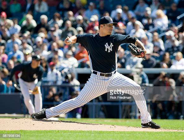 Phil Hughes of the New York Yankees pitching during an exhibition game between the New York Yankees and the USA Baseball team made up of MLB players...