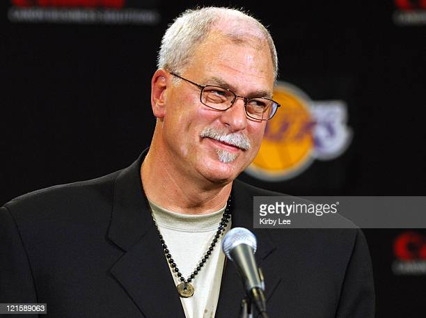 Phil Jackson at press conference to announce his hiring as Los Angeles Lakers coach at the Staples Center in Los Angeles California on Tuesday June...