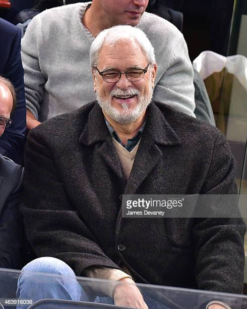 Phil Jackson attends Vancouver Canucks vs New York Rangers game at Madison Square Garden on February 19 2015 in New York City