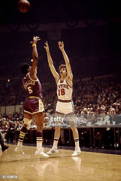 Phil Jackson of the New York Knicks passes the ball during a game circa 1972 at Madison Square Garden in New York New York NOTE TO USER User...