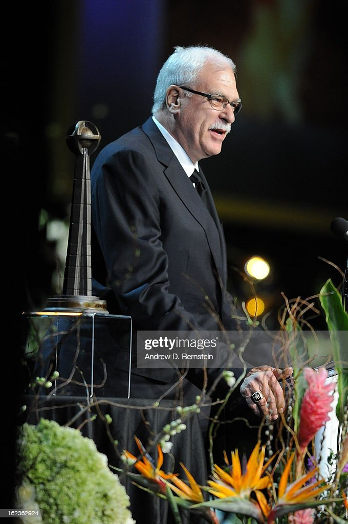 Phil Jackson speaks during the memorial service for Los Angeles Lakers Owner Dr. Jerry Buss at Nokia Theatre LA LIVE on February 21, 2013 in Los Angeles, California.