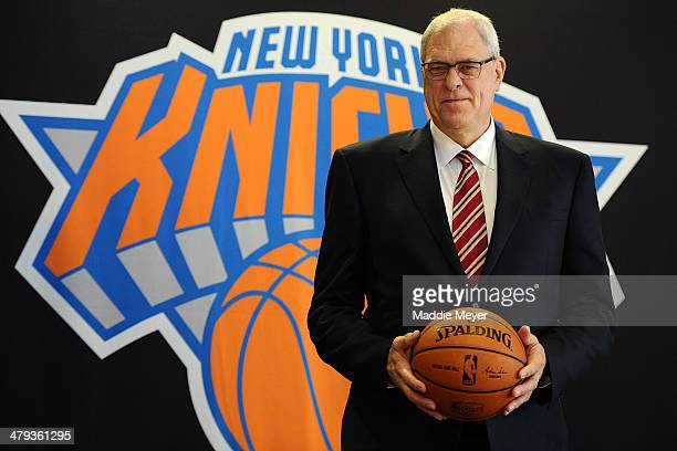 Phil Jackson stands for photos during his introductory press conference as President of the New York Knicks at Madison Square Garden on March 18 2014...