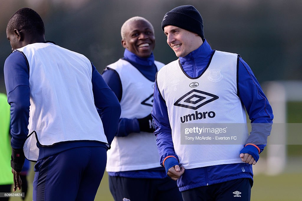 Phil Jagielka (R) and Arouna Kone during the Everton training session at Finch Farm on February 11, 2016 in Halewood, England.