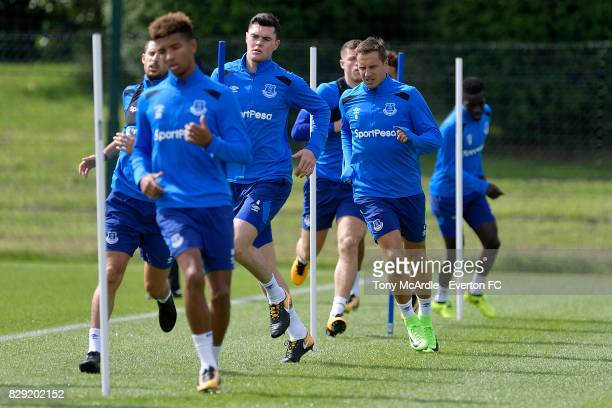 Phil Jagielka and team mates during the Everton FC training session at USM Finch Farm on August 10 2017 in Halewood England