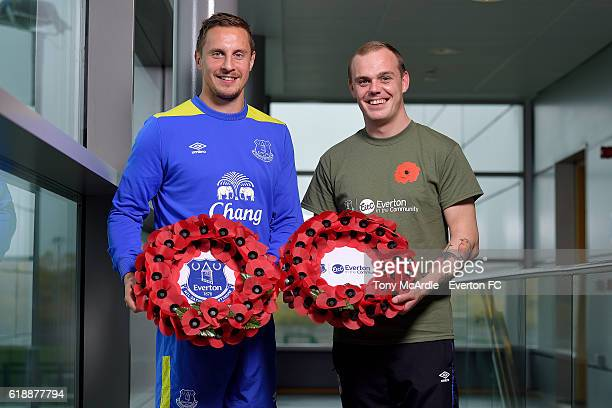 Phil Jagielka attends an Everton In The Community event at Finch Farm on October 28 2016 in Halewood England
