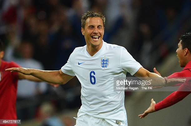 Phil Jagielka of England celebrates as he scores their third goal during the International Friendly match between England and Peru at Wembley Stadium...