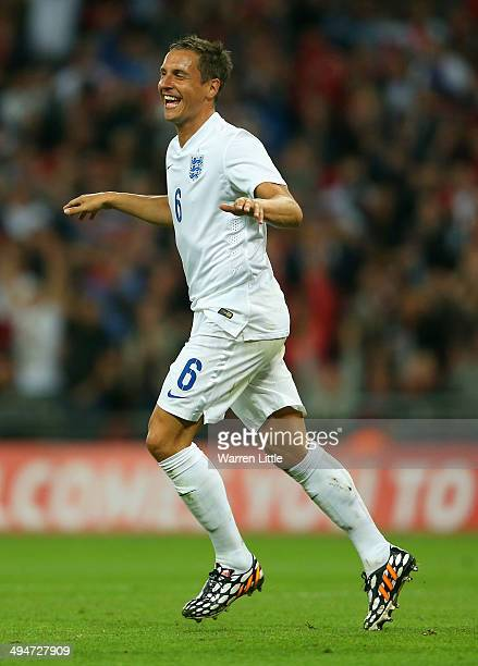 Phil Jagielka of England celebrates scoring their third goal during the international friendly match between England and Peru at Wembley Stadium on...