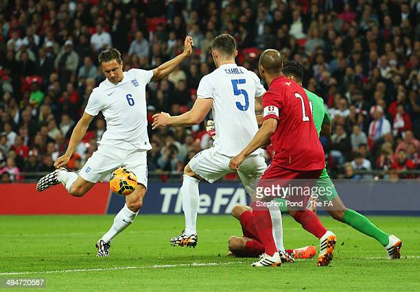 Phil Jagielka of England he scores their third goal during the International Friendly match between England and Peru at Wembley Stadium on May 30...