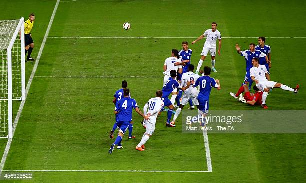 Phil Jagielka of England scores the openiung goal with a header during the EURO 2016 Qualifier match between England and San Marino at Wembley...