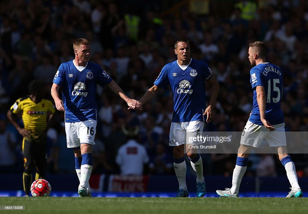 <a gi-track='captionPersonalityLinkClicked' href=/galleries/search?phrase=Phil+Jagielka&family=editorial&specificpeople=682518 ng-click='$event.stopPropagation()'>Phil Jagielka</a> of Everton celebrates his side's first goal with team-mate <a gi-track='captionPersonalityLinkClicked' href=/galleries/search?phrase=James+McCarthy+-+Soccer+Player&family=editorial&specificpeople=8984734 ng-click='$event.stopPropagation()'>James McCarthy</a> during the Barclays Premier League match between Everton and Watford at Goodison Park on August 8, 2015 in Liverpool, England.