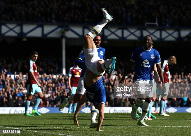 Phil Jagielka of Everton celebrates scoring his sides first goal during the Premier League match between Everton and Burnley at Goodison Park on...