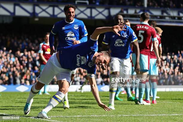 Phil Jagielka of Everton celebrates scoring the first goal to make the score 10 during the Premier League match between Everton and Burnley at...