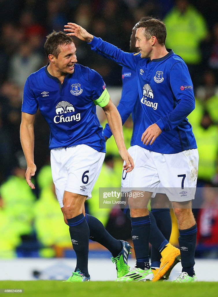 Phil Jagielka of Everton (6) celebrates with Aidan McGeady as he scores their second goal during the UEFA Europa League Group H match between Everton FC and LOSC Lille at Goodison Park on November 6, 2014 in Liverpool, United Kingdom.