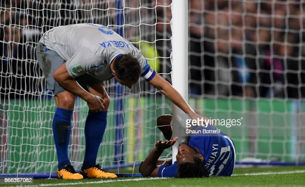 Phil Jagielka of Everton checks on Michy Batshuayi of Chelsea during the Carabao Cup Fourth Round match between Chelsea and Everton at Stamford...