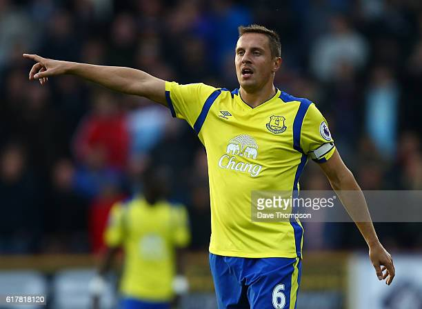 Phil Jagielka of Everton during the Premier League match between Burnley and Everton at Turf Moor on October 22 2016 in Burnley England