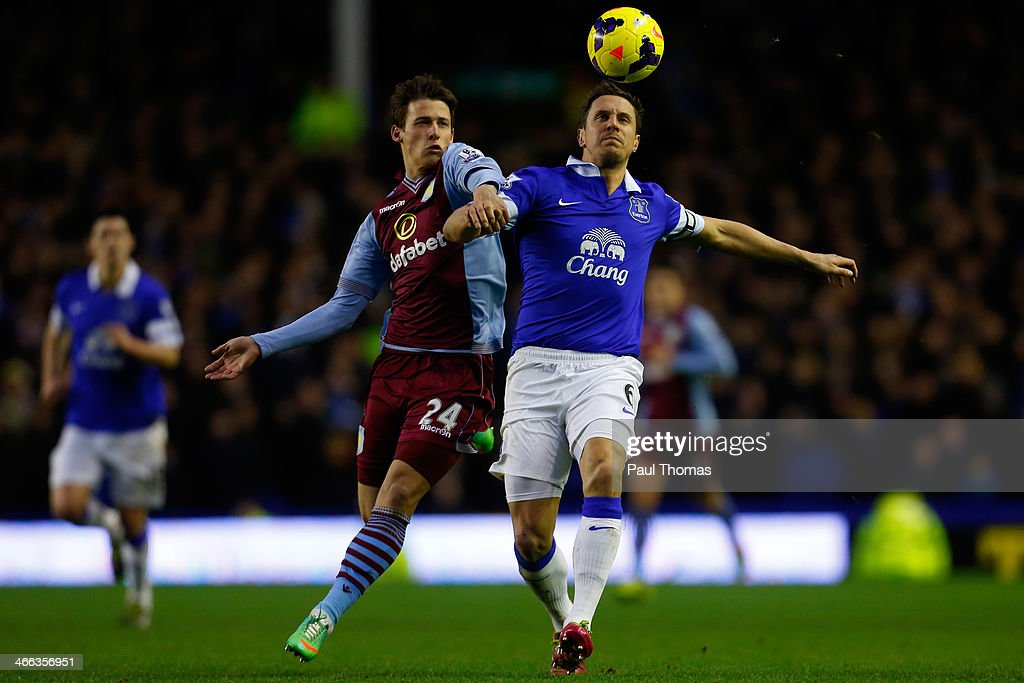 Phil Jagielka (R) of Everton in action with Aleksandar Tonev of Aston Villa during the Barclays Premier League match between Everton and Aston Villa at Goodison Park on February 1, 2014 in Liverpool, England.