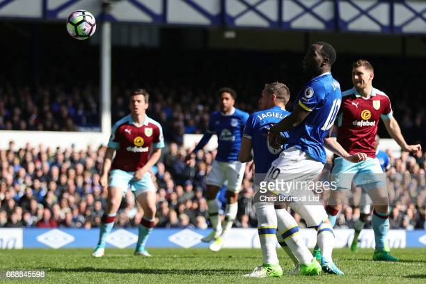 Phil Jagielka of Everton scores the first goal to make the score 10 during the Premier League match between Everton and Burnley at Goodison Park on...