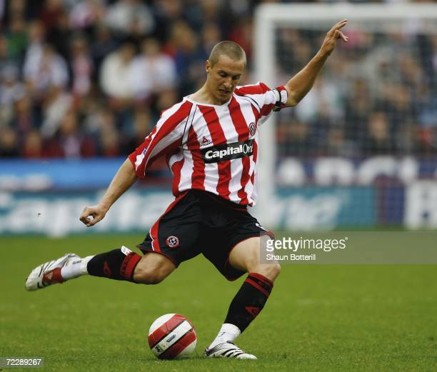 Phil Jagielka of Sheffield United during the Barclays Premiership match between Sheffield United and Chelsea at Bramell Lane on October 28 2006 in...