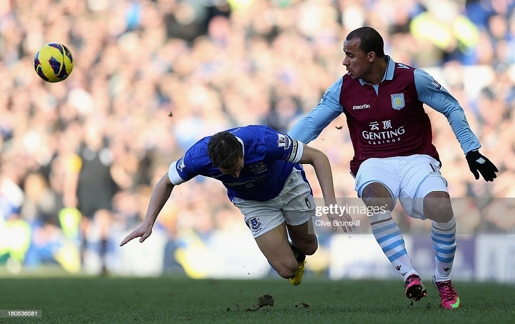Phil Jaielka of Everton in action with Gabriel Agbonlahor of Aston Villa during the Barclays Premier League match between Everton and Aston Villa at Goodison Park on February 2, 2013 in Liverpool, England.