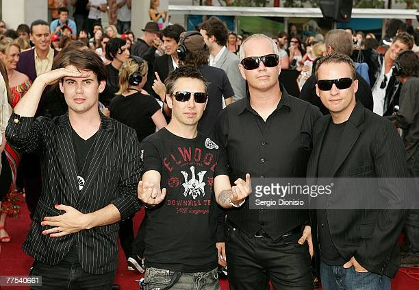 Phil Jamieson Joe Hansen Pat Davern and Kristian Hopes of Grinspoon arrive on the red carpet at the 2007 ARIA Awards at Acer Arena on October 28 2007...